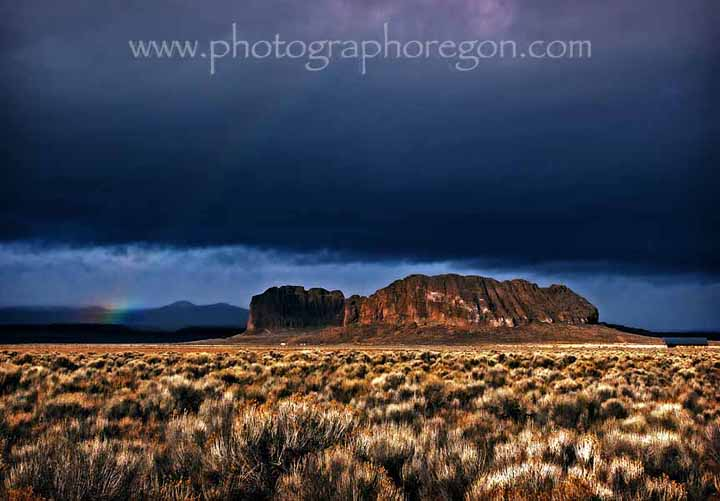 Fort Rock storm rainbow